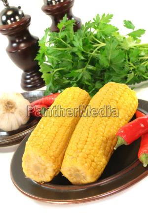 corn corncob garlic parsley coriander chilli