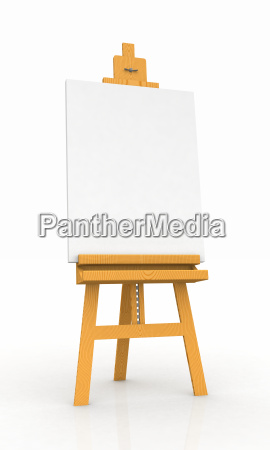 wooden easel with blank canvas 01