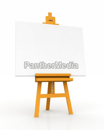 wooden easel with blank canvas 02