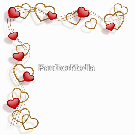 heart frame red gold