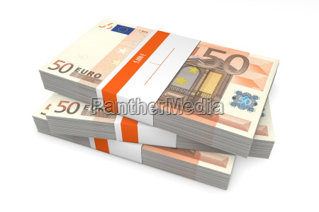 three packets of 50 euro notes