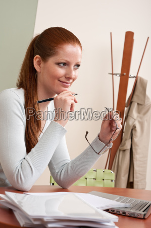 long red hair business woman at