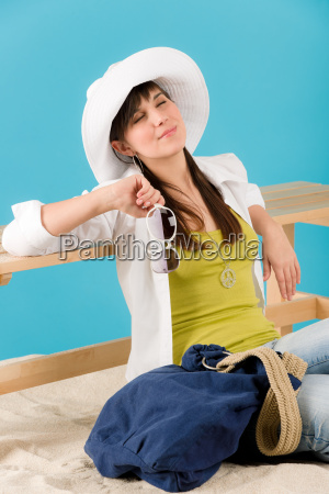 summer young happy woman relax