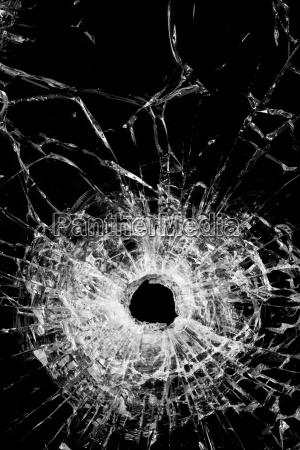 broken glass isolated on black