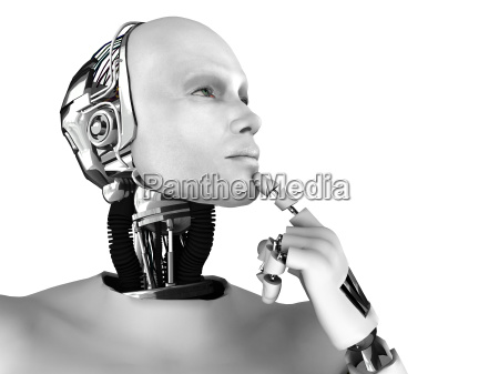 male robot thinking about something