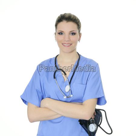 closeup of beautiful nurse with medica