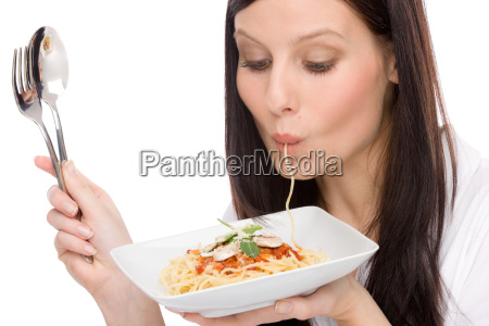 italian food portrait woman eat