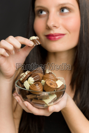 chocolate portrait young woman enjoy