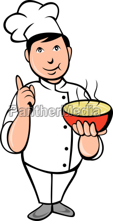 cartoon chef cook with bowl of