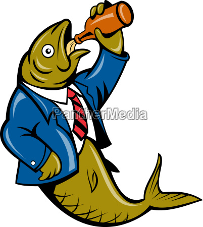 herring fish business suit drinking beer