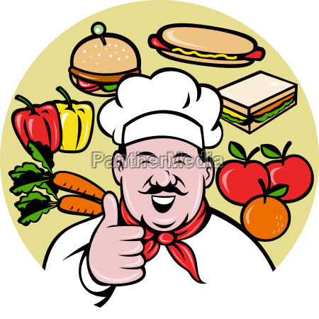 chef cook baker thumbs up fruit