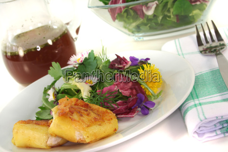 wild herb salad with goat cheese