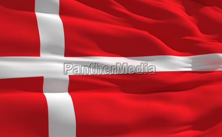 ondeando la bandera de dinamarca
