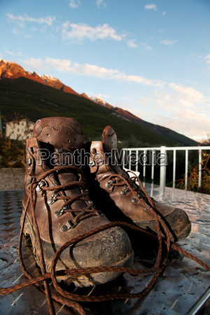 mountain shoes on a table