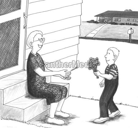 boy giving grandmother flowers