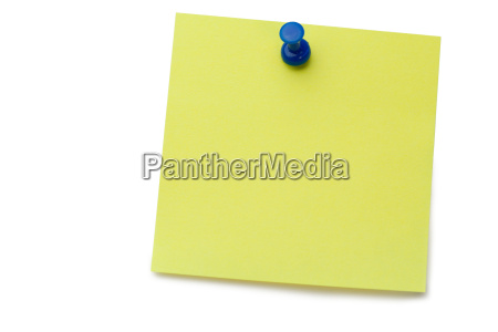 yellow post it with drawing pin