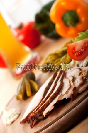 slices of cold roast pork on