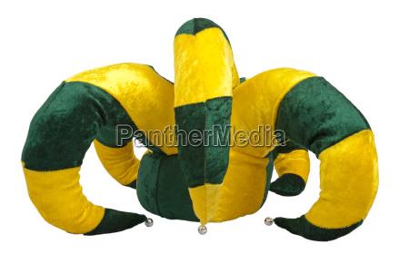 yellow and green joker hat