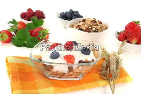 muesli with yoghurt fresh fruits and