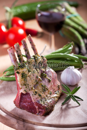 closeup of a raw lamb crown