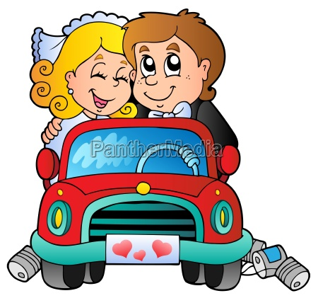 car with wedding couple