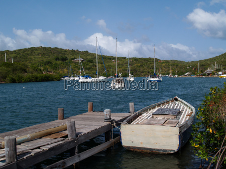 boat dock in english harbour in