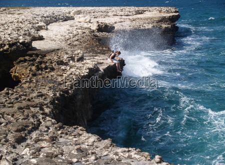 devils bridge with tourist on antigua