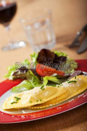 close up of fresh ravioli with