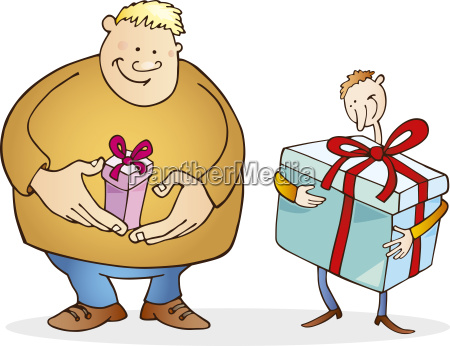 big man with small gift and