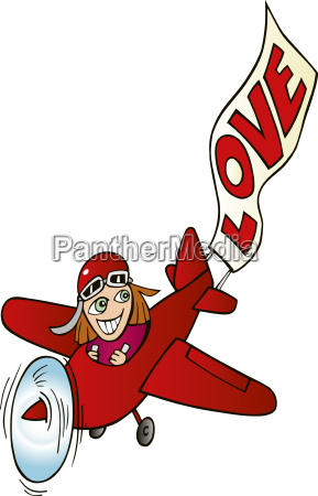 girl in airplane with love sign