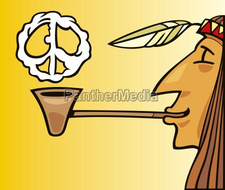 indian smoking pipe of peace