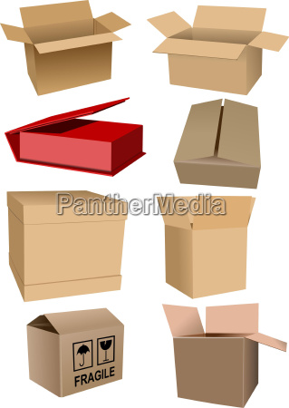 big set of carton packaging boxes