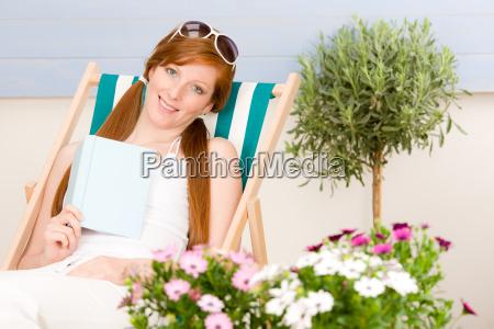 summer terrace red hair woman relax