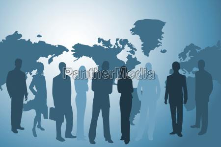 businesspeople and worldmap