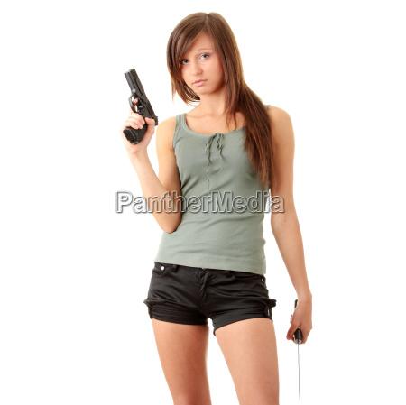 beautiful girl holding a black
