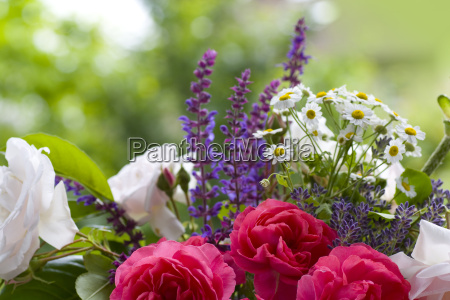 bouquet of roses with lavender