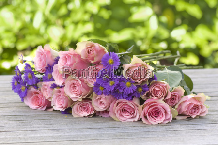 purple aster and pink roses