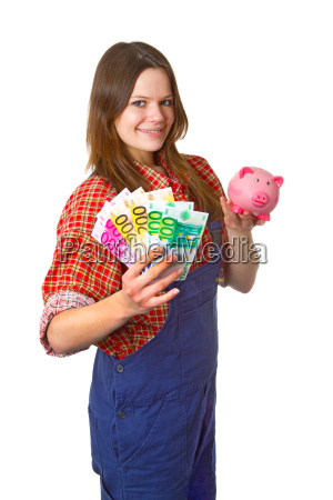 young craftswoman with banknotes