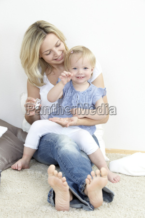mother and daughter with globules