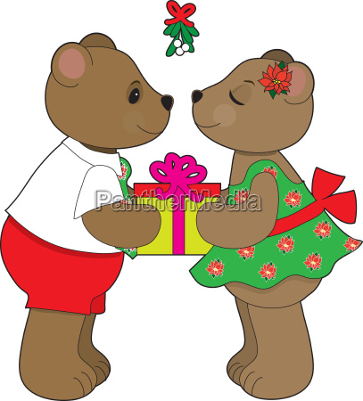 kissing bears mistletoe