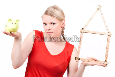 young woman with house symbol and