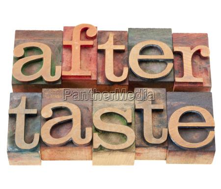 aftertaste word in letterpress type