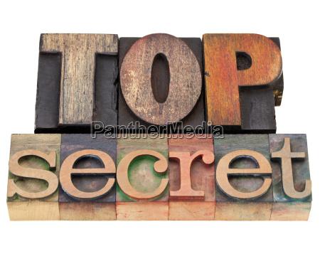 top secret in letterpress type