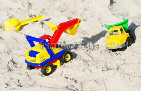 toys on the sandy beach