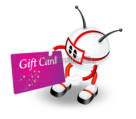 red 3d character with gift card