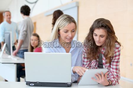 portrait of teacher and teenage girl
