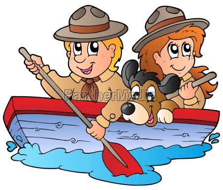 wooden boat with scout boy and