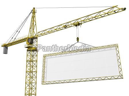 crane lifting blank sign