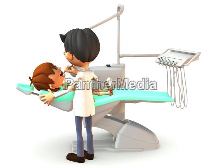 cartoon boy getting a dental exam