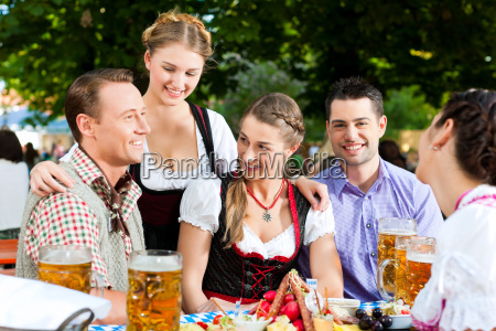 in beer garden friends on